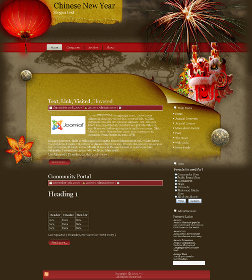 word press theme layout 10 chinese new year